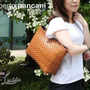 イタリア【roberto pancani(ロベルトパンカーニ)】の、メッシュレザートートバッグ