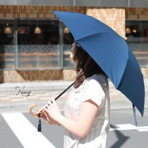 Nouvel Japonais 折りたたみ日傘 バンブーハンドル タッセル付 晴雨兼用 スライドショート 日本製
