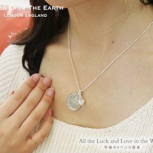 TALES FROM THE EARTH イギリス製 シルバーペンダント コインチャーム 幸福の6ペンス銀貨 ネックレス