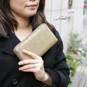 【MADERA】イタリアンメタリックレザーラウンドファスナー長財布
