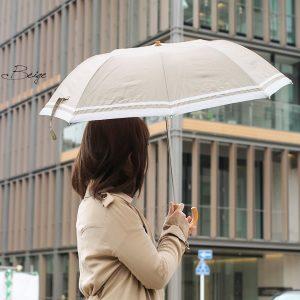 ウッドハンドルグログランリボン折りたたみ日傘
