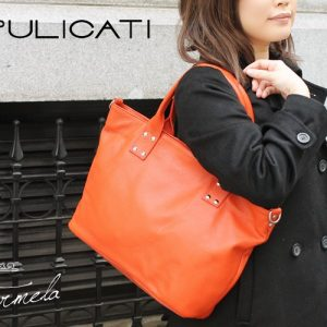 【PULICATI】シュリンクレザー2wayショルダートートバッグ<イルメラ>