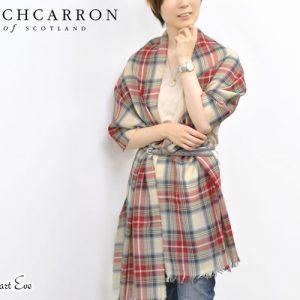 【Lochcarron of Scotland】英国ピュアウール100%タータンチェック薄手大判ストール