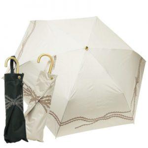 【CarronSelect】リボンレースエンブロイダリー晴雨兼用折りたたみミニスリム日傘
