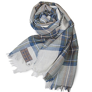 【Lochcarron of Scotland】英国ピュアウール100%タータンチェック薄手大判ストール<ブルードレススチュアート>