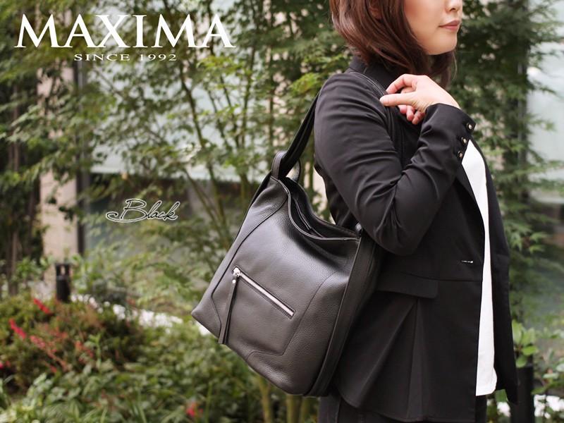 【MAXIMA】カーフレザーショルダーバッグリュックサック<ナディア>