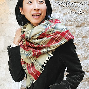 【Lochcarron of Scotland】アンゴラ混タータンチェック薄手大判ストール<スチュアートイヴ>