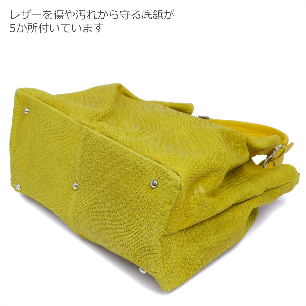 【PULICATI】イントレチャート型押しカーフレザーショルダートートバッグ<ルシアナ>
