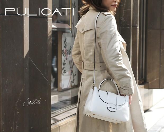 【PULICATI】シュリンクレザー2wayワンハンドルフラップハンドバッグ<カテーナ>