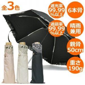 【CarronSelect】リーフボーラーエンブロイダリー晴雨兼用折りたたみ日傘