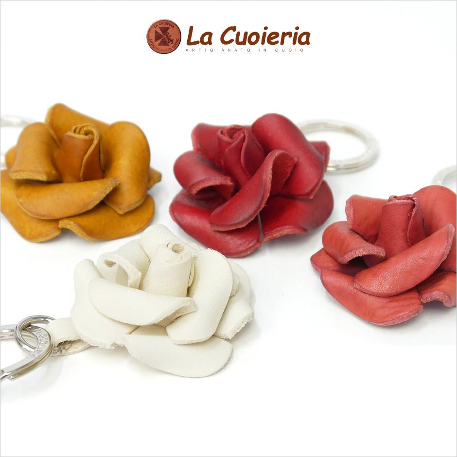 【La Cuoieria】フラワーモチーフレザーキーホルダー<ローズ> width=