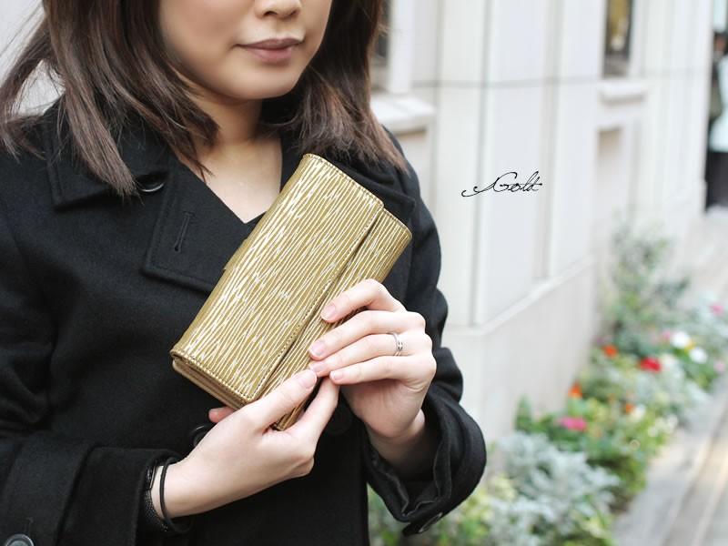 【MADERA】イタリアンメタリックレザー二折り長財布
