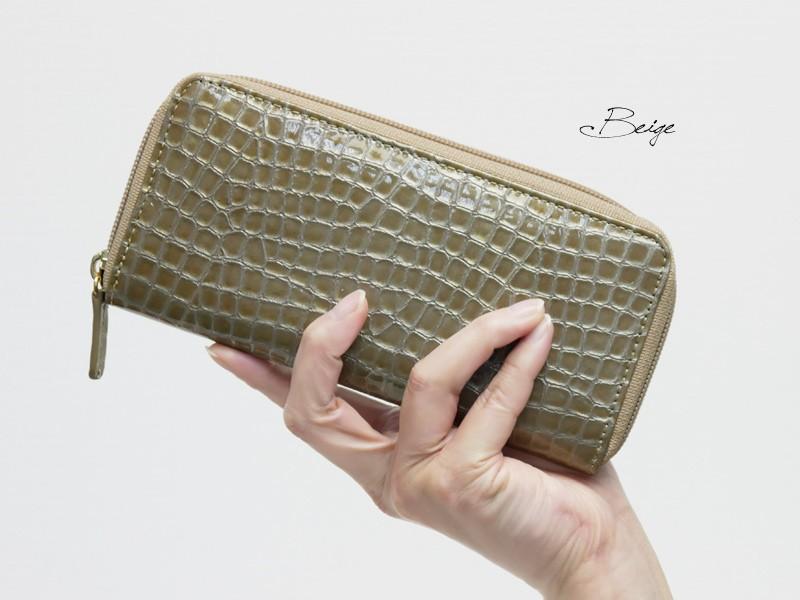 【MADERA】イタリアンエナメルレザーラウンドファスナーポケット付き長財布