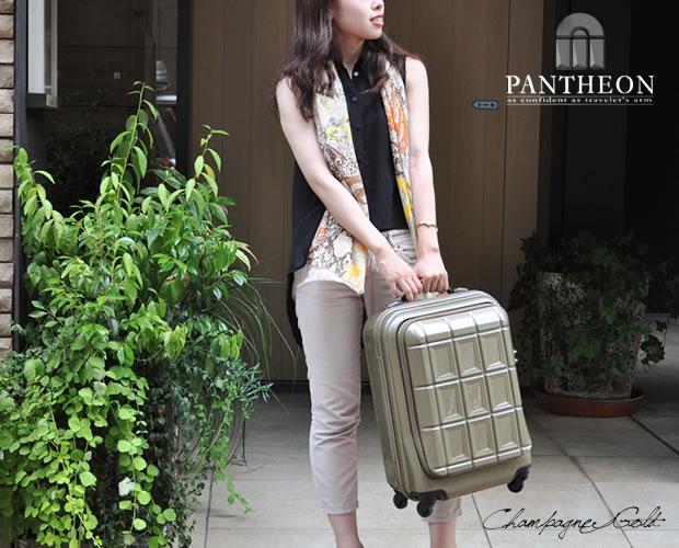 【PANTHEON】 ハードキャリーケース TSAロック付き  シャンパンゴールド