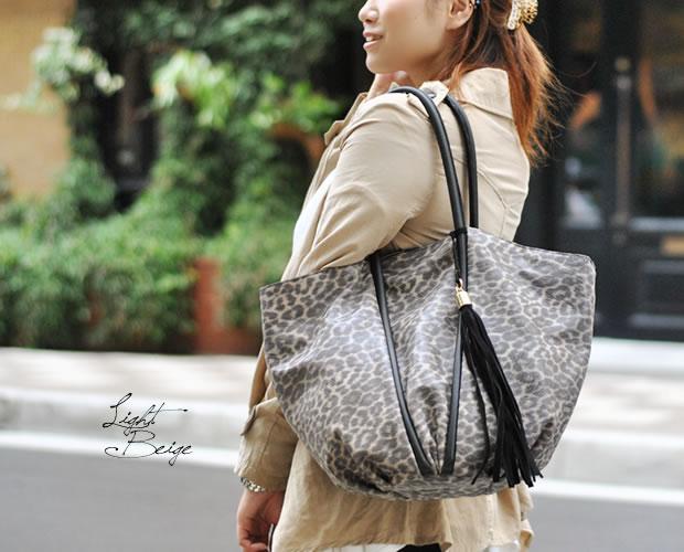 【innue】レオパード柄本革トートバッグ