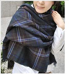 【Lochcarron(ロキャロン)】カシミヤ混薄手大判ストール<スコットランドフォーエバー>