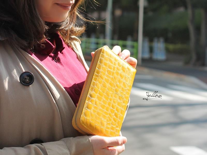 【CarronSelect】エナメルクロコ調ギャルソンラウンドファスナー長財布