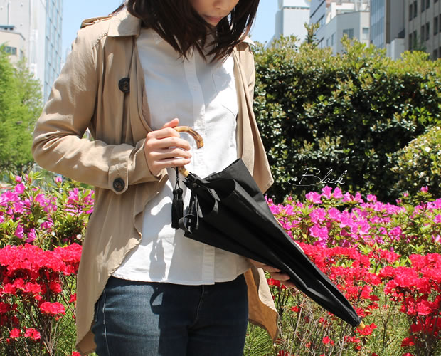 【Nouvel Japonais】バンブーハンドルタッセル付晴雨兼用折りたたみ傘