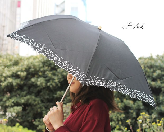 【CarronSelect】フラワーレース晴雨兼用折りたたみミニ日傘