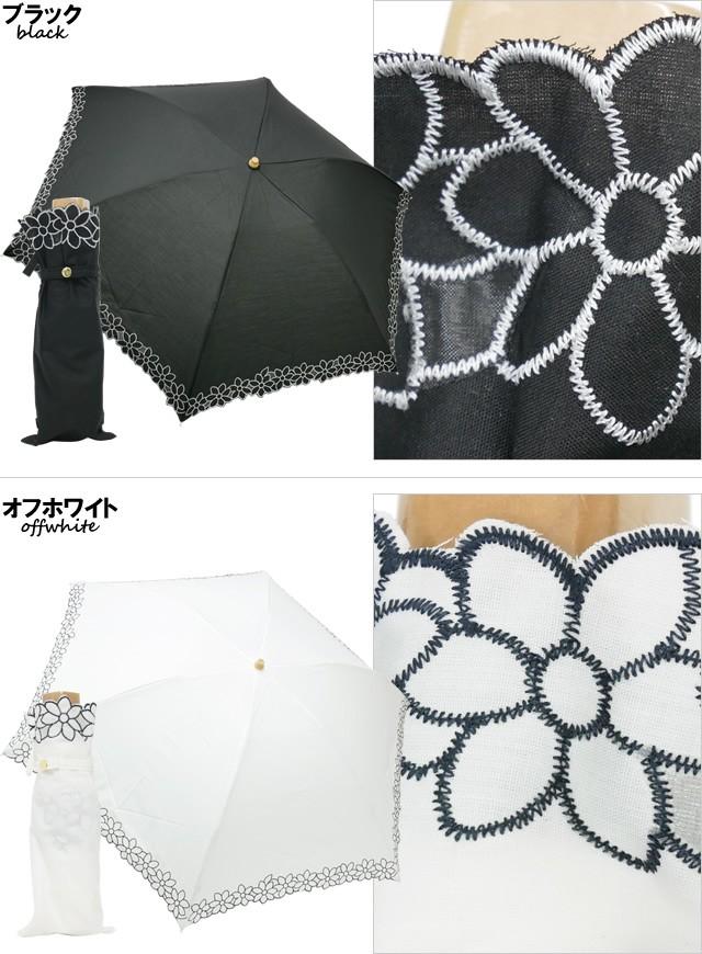 【CarronSelect】フラワーレース晴雨兼用折りたたみミニ日傘 ブラック