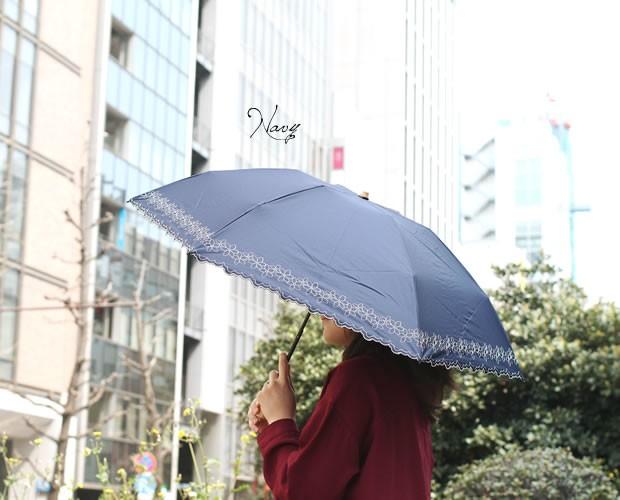 【CarronSelect】フラワーエンブロイダリー晴雨兼用折りたたみミニ軽量日傘