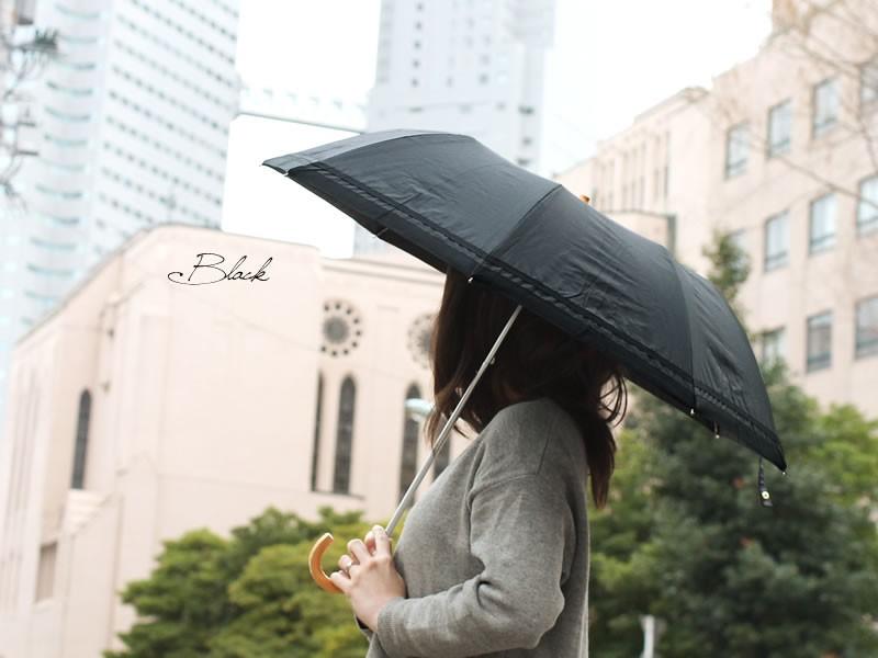 【CarronSelect】ウッドハンドルグログランリボン折りたたみ日傘