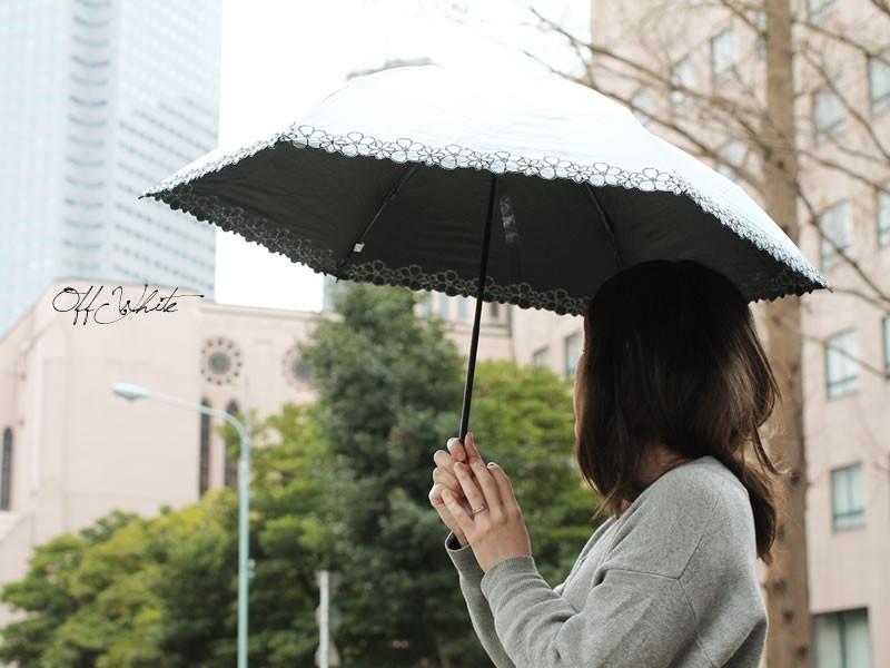 【CarronSelect】フラワーエンブロイダリー晴雨兼用軽量ミニ折りたたみ日傘