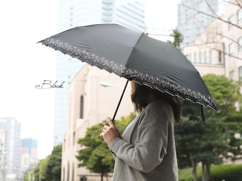 【CarronSelect】ラインフラワーエンブロイダリー晴雨兼用軽量大きめミニ折りたたみ日傘