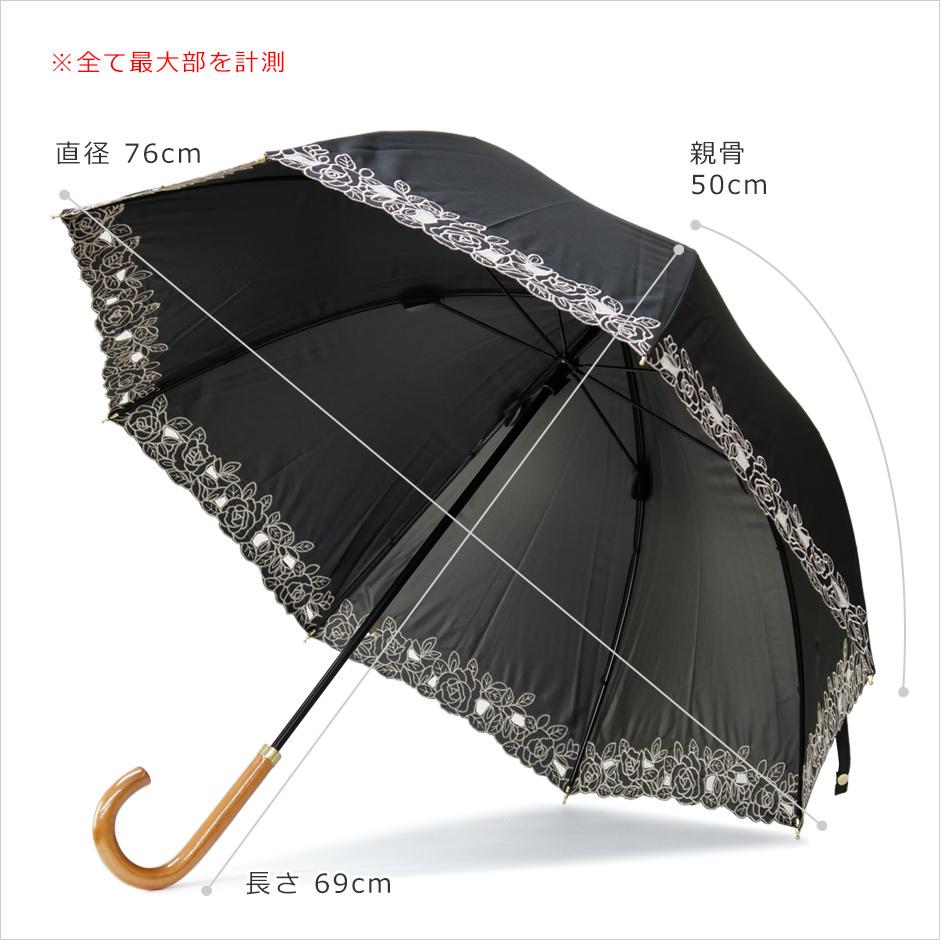 【CarronSelect】オーガンジーローズエンブロイダリーバルーン晴雨兼用長日傘 サイズ詳細