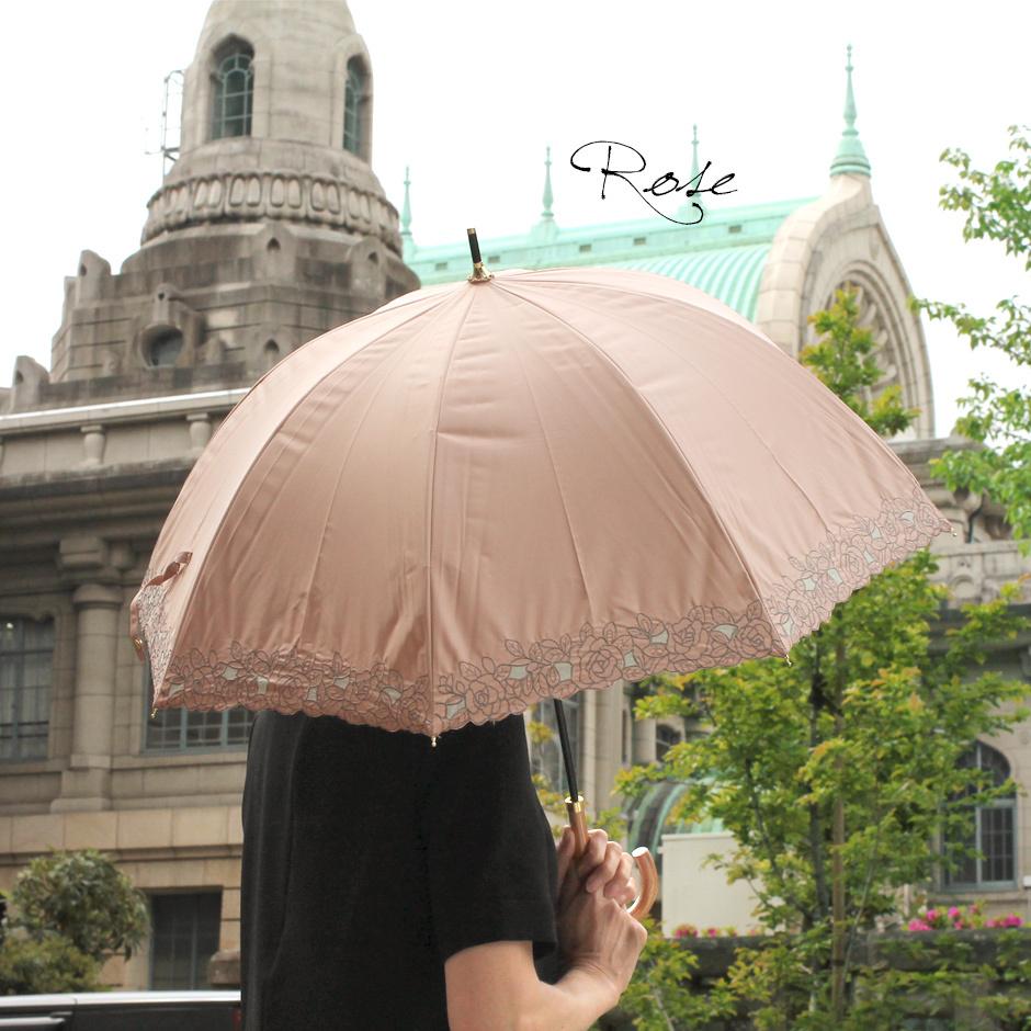 【CarronSelect】オーガンジーローズエンブロイダリーバルーン晴雨兼用長日傘