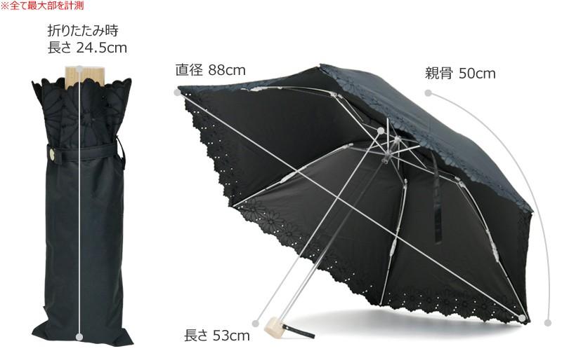 【CarronSelect】フラワーボーラーエンブロイダリー晴雨兼用折りたたみ日傘 サイズ詳細