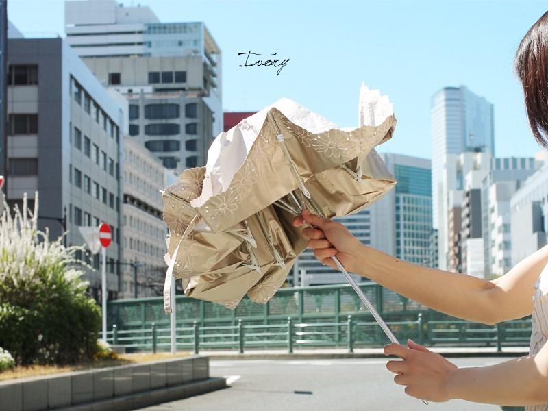 【CarronSelect】フラワーボーラーエンブロイダリー晴雨兼用折りたたみ日傘