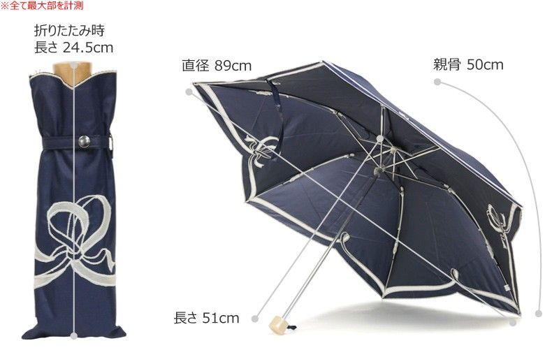 【CarronSelect】オーガンジーリボンエンブロイダリー晴雨兼用折りたたみ日傘 サイズ詳細