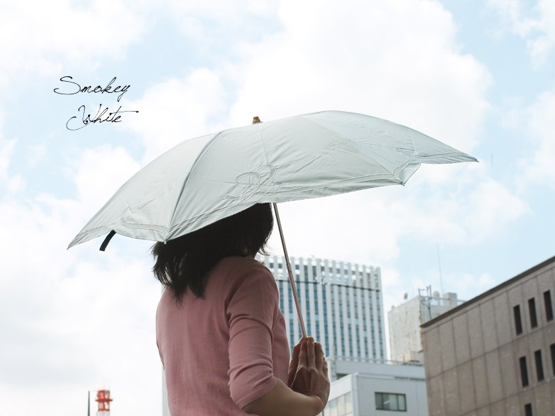 【CarronSelect】オーガンジーリボンエンブロイダリー晴雨兼用折りたたみ日傘