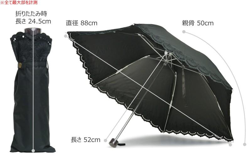 【CarronSelect】オリエンタルエンブロイダリー晴雨兼用折りたたみ日傘 サイズ詳細