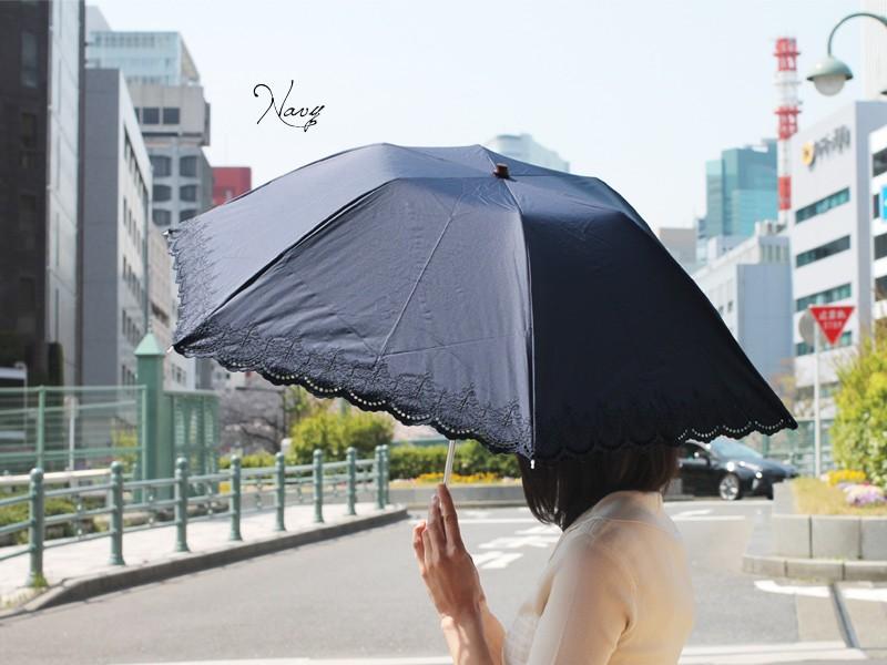 【CarronSelect】オリエンタルエンブロイダリー晴雨兼用折りたたみ日傘