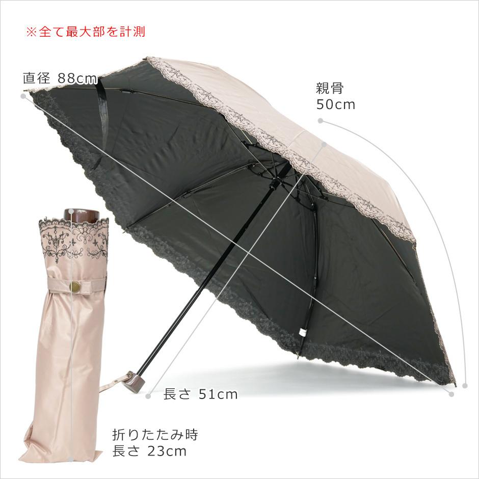 【CarronSelect】軽量エンブロイダリーレース晴雨兼用カーボンミニ折りたたみ日傘 サイズ詳細