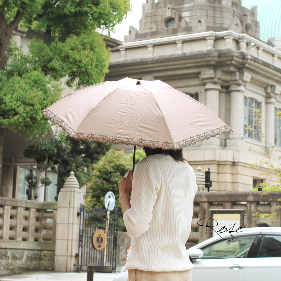 【CarronSelect】軽量エンブロイダリーレース晴雨兼用カーボンミニ折りたたみ日傘
