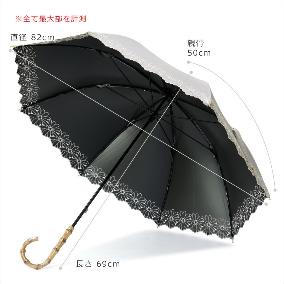 【CarronSelect】フラワーボーラーエンブロイダリーバンブーハンドル晴雨兼用長日傘 サイズ詳細