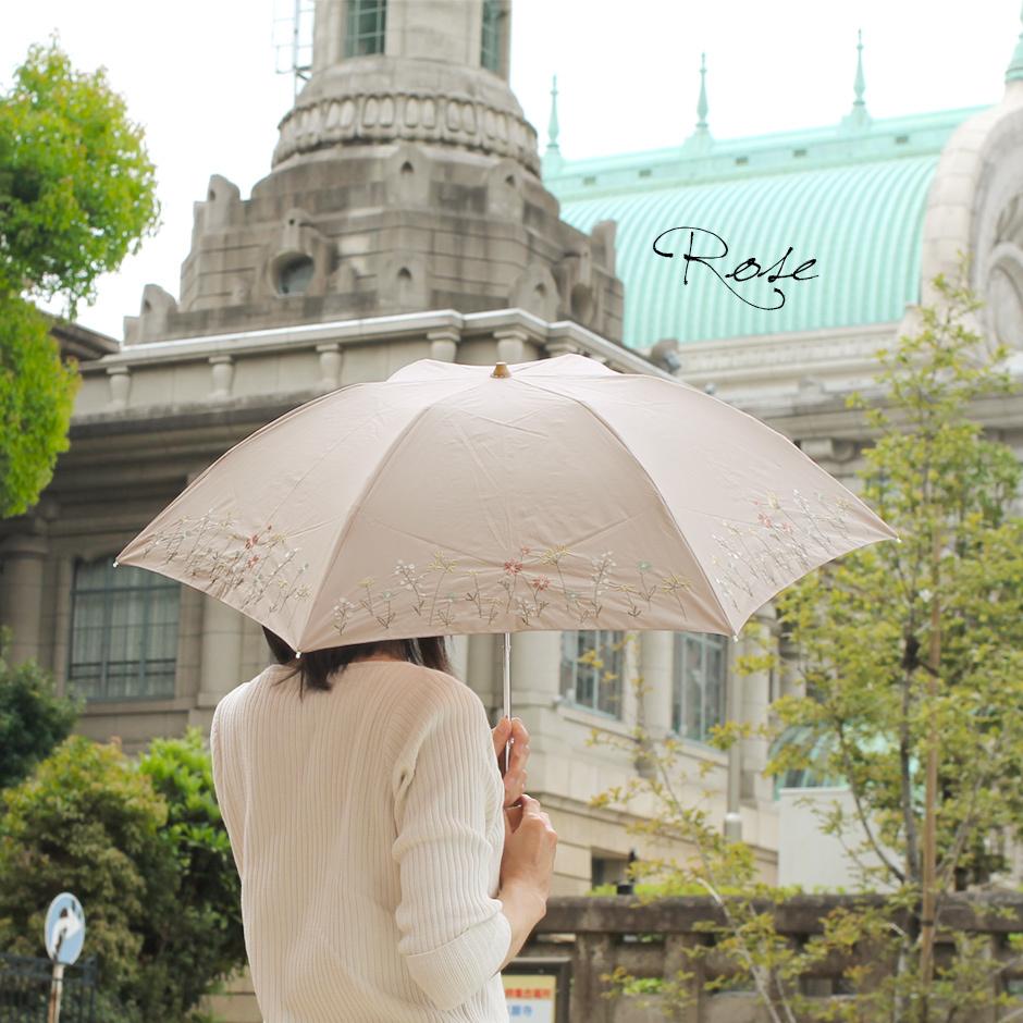 【CarronSelect】フラワーエンブロイダリー晴雨兼用ミニ折りたたみ日傘