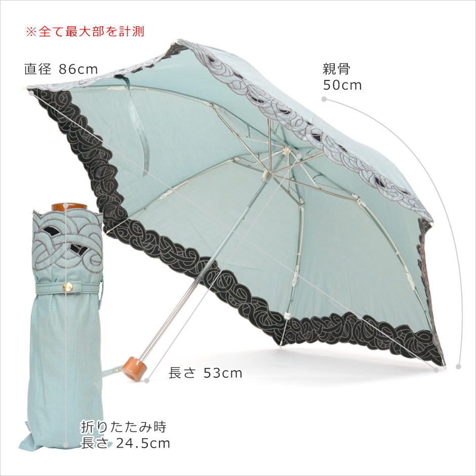 【CarronSelect】オーガンジーバテンレース晴雨兼用ミニ折りたたみ日傘 サイズ詳細