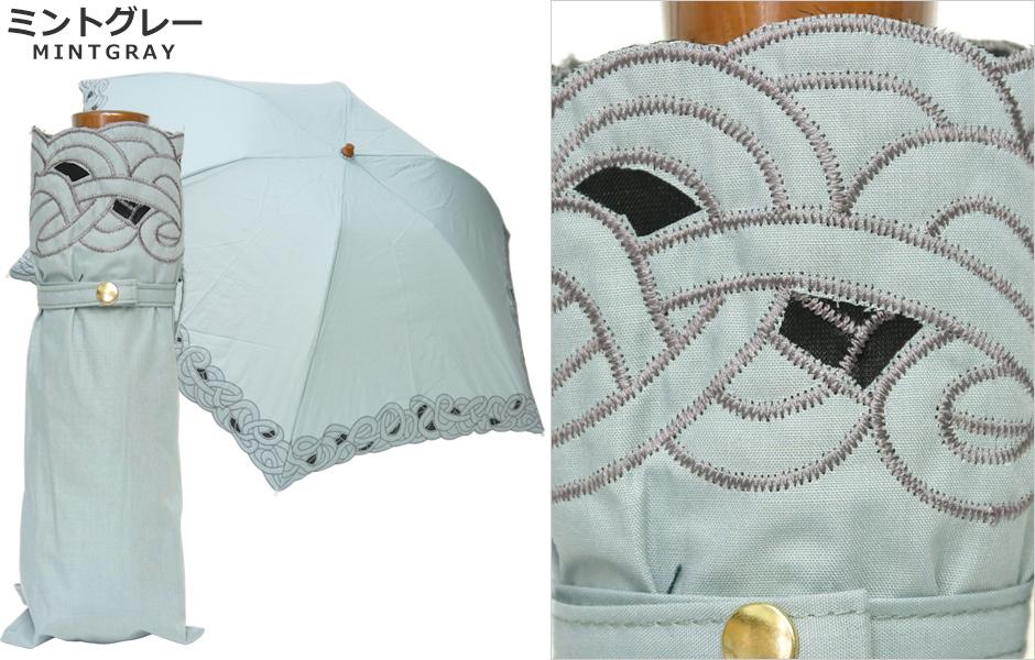 【CarronSelect】オーガンジーバテンレース晴雨兼用ミニ折りたたみ日傘 ブラック
