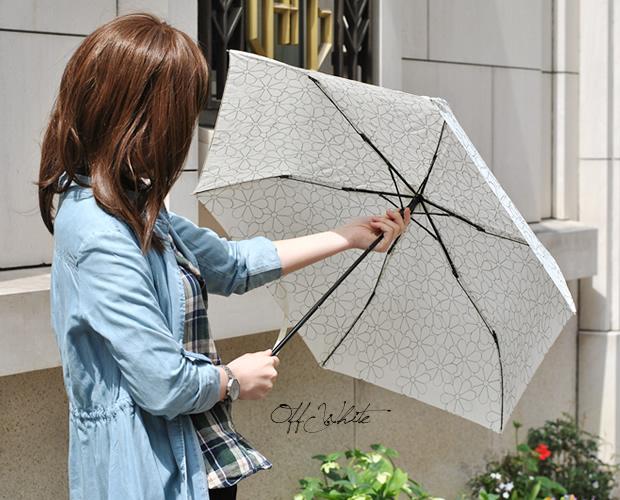 エンブロイダリーフラワーミニ折りたたみ日傘