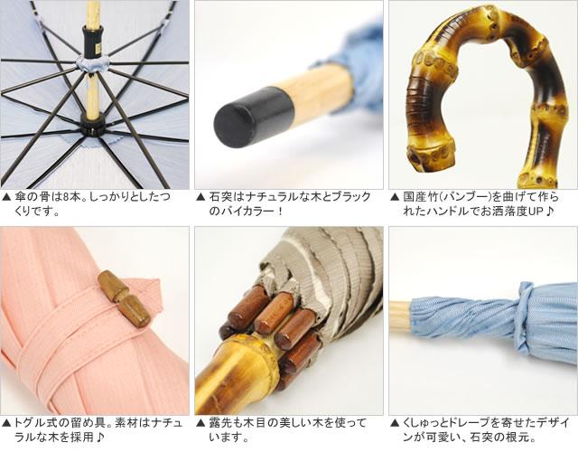 【Nouvel Japonais】バンブーハンドル晴雨兼用傘 詳細