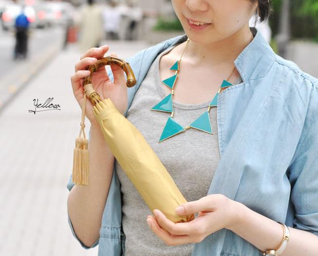 【Nouvel Japonais】バンブーハンドルタッセル付折りたたみ傘
