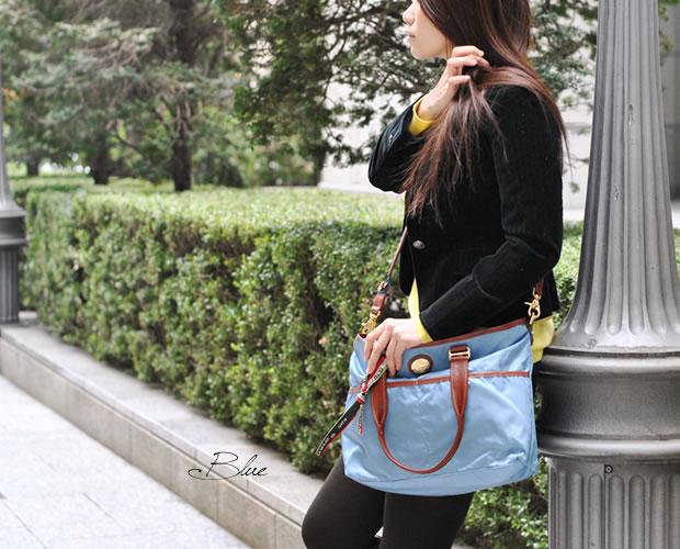 オロビアンコ ショルダートートバッグ ブルー 斜め掛けイメージ