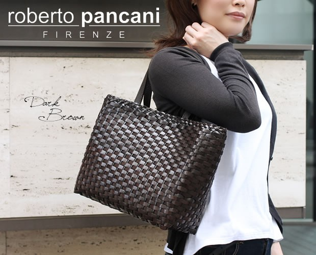 【roberto pancani】メッシュカーフレザースクエア型ショルダートートバッグ<ルイーザ>