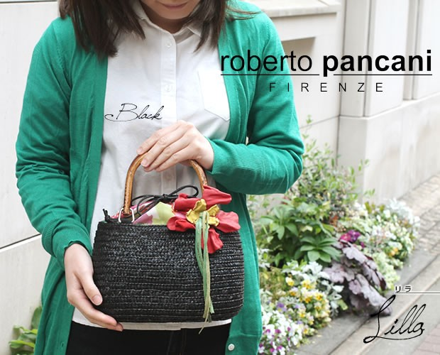 【roberto pancani】バンブーハンドルコサージュ付きラウンド型ストローバッグ<リラ>