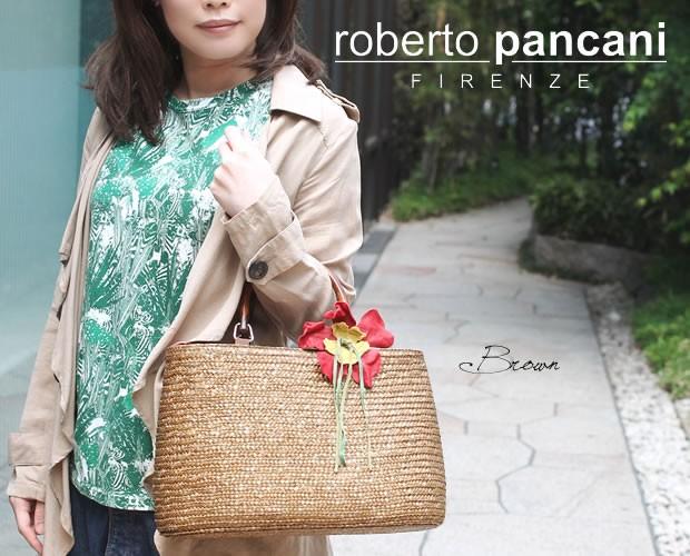 【roberto pancani】バンブーハンドルコサージュ付きストロートートバッグ<マーサ>