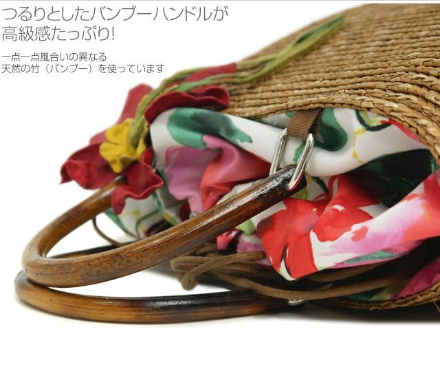 【roberto pancani】バンブーハンドルコサージュ付きストロートートバッグ<マーサ>  詳細